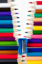 Fastener from color pencils Royalty Free Stock Photography