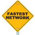 Fastest network concept words on a road sign on white background Royalty Free Stock Photography