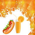 Fastfood on a abstract mosaic background Royalty Free Stock Images