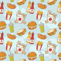 Fastfood delicious hand drawn vector seamless patt pattern with burger hot dog and french fries Stock Photo