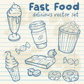 Fastfood delicious hand drawn vector set with tasty sweets ice cream popcorn and chocolate on notepaper sheet Royalty Free Stock Photo