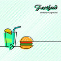 Fastfood icons background fast food vector abstract illustration Stock Photo