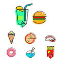Fastfood icons set of fast food vector Stock Images
