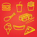 Fastfood icons set food and drink signs Royalty Free Stock Photos