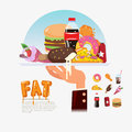 Fastfood junkfood in tray with chef hand food delivery fat foo unhealthy concept illustration Stock Images