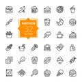 Fastfood - outline icon collection, vector