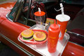 Fastfood & red classic car Stock Photo