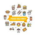 Fastfood or Street Food Round Design Template Line Icon Delivery Concept. Vector