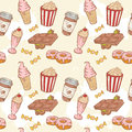 Fastfood sweets delicious hand drawn vector seamle seamless pattern with tasty ice cream popcorn and chocolate Stock Photography