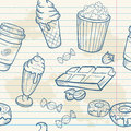 Fastfood sweets delicious hand drawn vector seamle seamless pattern with tasty ice cream popcorn and chocolate on notepaper sheet Royalty Free Stock Image