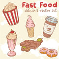 Fastfood vector set delicious hand drawn with tasty sweets ice cream popcorn and chocolate Royalty Free Stock Image