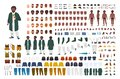 Fat African American man constructor set or DIY kit. Bundle of flat cartoon character body parts, postures, gestures