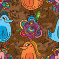 Fat bird cute hello seamless pattern Royalty Free Stock Photo