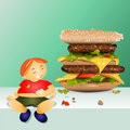 Fat boy and big hamburger Stock Image