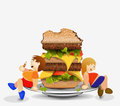Fat boy and a big hamburger. Stock Images