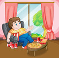 A fat boy with lots of foods illustration Stock Image