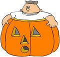 Fat Boy In A Pumpkin Royalty Free Stock Images