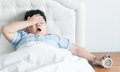 Fat boy yawn on bed Royalty Free Stock Photo