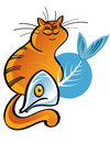 Fat Cat and Fish Bone Royalty Free Stock Photo