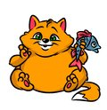 Fat cat fish cartoon illustration Royalty Free Stock Photo
