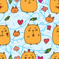 Fat cat love seamless pattern