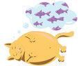 Fat cat red dreams about fish Stock Images