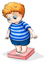 A fat caucasian boy illustration of on white background Stock Images