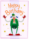Fat clown birthday greeting wearing colorfull costume giving a happy Royalty Free Stock Images