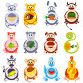 Fat funny animals set . Decorative heroes of Chinese horoscope Royalty Free Stock Photo