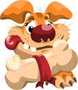 Fat cartoon dog with a bone Royalty Free Stock Photo