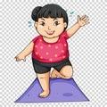 Fat girl doing yoga on mat