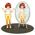 A fat girl and her skinny reflection illustration of on white background Royalty Free Stock Images