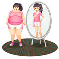 A fat girl and her slim version in the mirror illustration of on white background Stock Photo