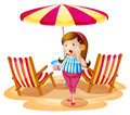 A fat girl holding a juice near the beach umbrella with chairs illustration of on white background Royalty Free Stock Image