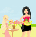 Fat girl jealous illustration Royalty Free Stock Image