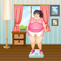 A fat girl on a weighing scale illustration of Stock Photography