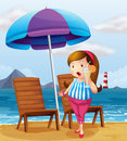 A fat lady holding a glass of juice at the beach illustration Royalty Free Stock Image