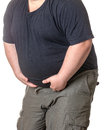 Fat man with a big belly close up part of the body Royalty Free Stock Photography