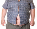 Fat man with a big belly close up part of the body Royalty Free Stock Photos