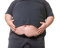 Fat man with a big belly close up part of the body Royalty Free Stock Photo