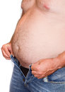 Fat man with a big belly diet Stock Image