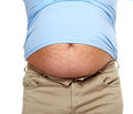 Fat man with a big belly diet Royalty Free Stock Images
