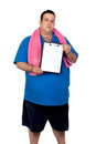 Fat man with a blank paper Stock Photography