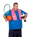 Fat man busy with many sports Royalty Free Stock Images