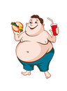 Fat man with fast food isolated on white background Royalty Free Stock Photos
