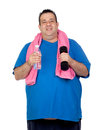 Fat man in the gym with a water bottle Royalty Free Stock Photos