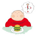 Fat man with hamburger, dreaming about slim figure