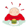 Fat man with hamburger, trying to decide whether to eat it or not