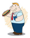 Fat man with hotdog Royalty Free Stock Photography