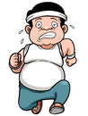 Fat man jogging vector illustration of Royalty Free Stock Photo